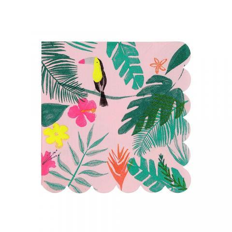 Pink tropical små servetter