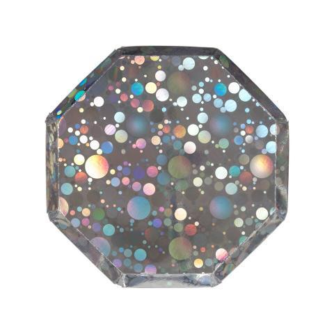Octagonal silver glitter, små tallrikar