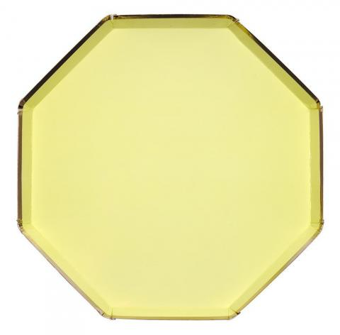 Octagonal pale yellow stora tallrikar, Meri Meri