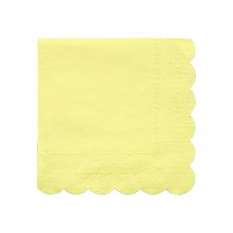 Octagonal pale yellow små servetter, Meri Meri