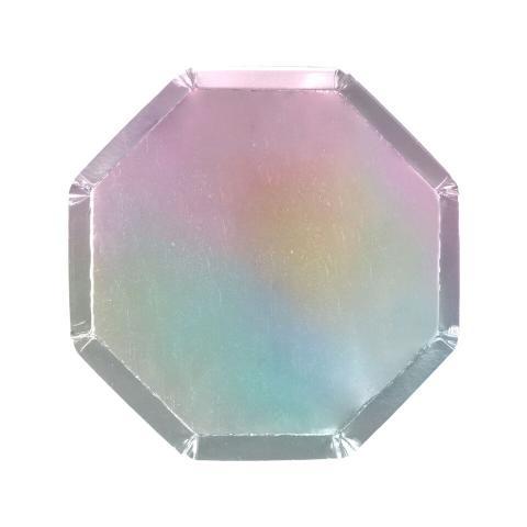 Octagonal holographic, små tallrikar