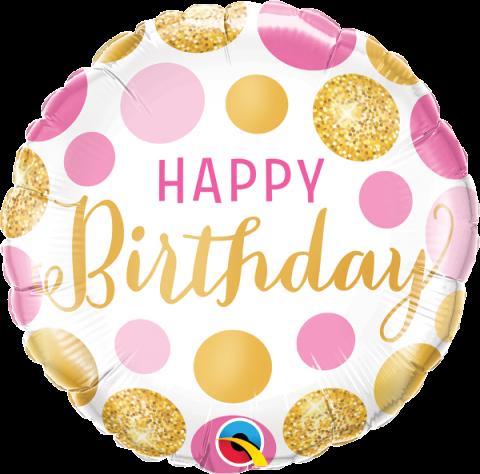 Folieballong, Bday pink&gold dots