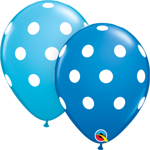 Gummiballonger 25st, blue&robinegg polka dots