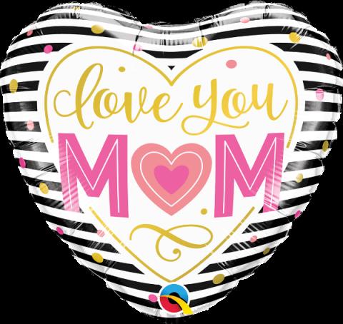 Folieballong, love you mom (hjärta)