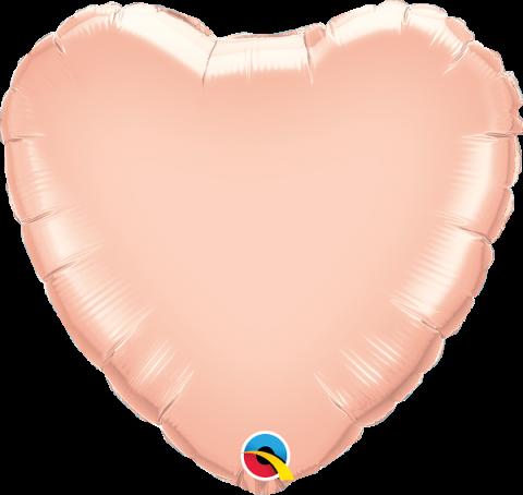Folieballong, roséguld hjärta
