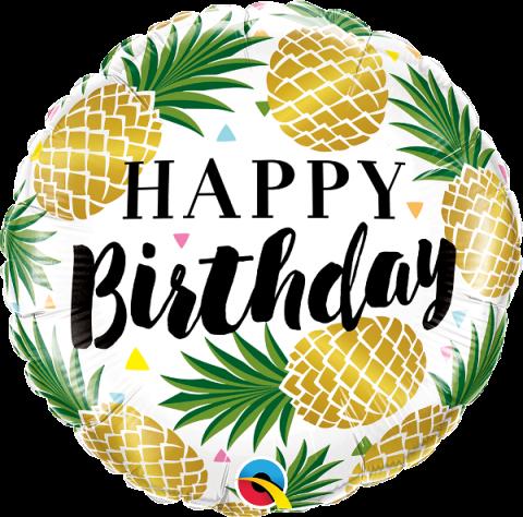 Folieballong, bday golden pineapples