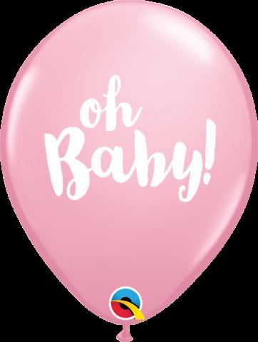 Gummiballong 25st, Oh baby rosa