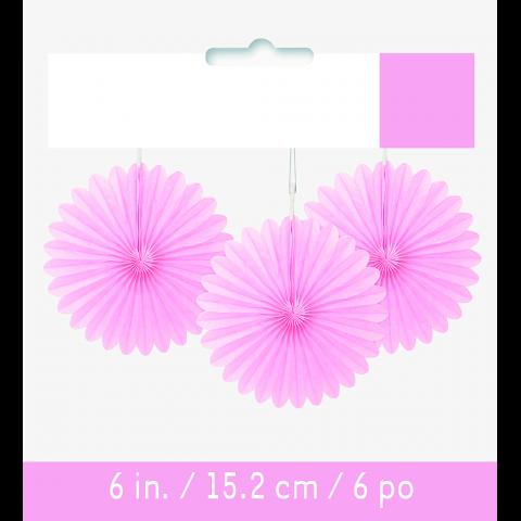 Papperdekoration fan, ljusrosa 3st