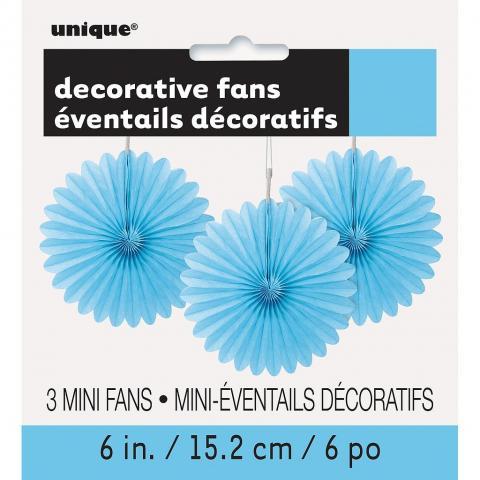 Papperdekoration fan, ljusblå 3st