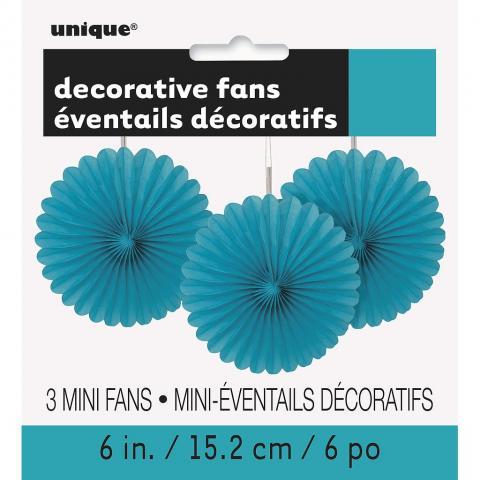 Papperdekoration fan, turkos 3st
