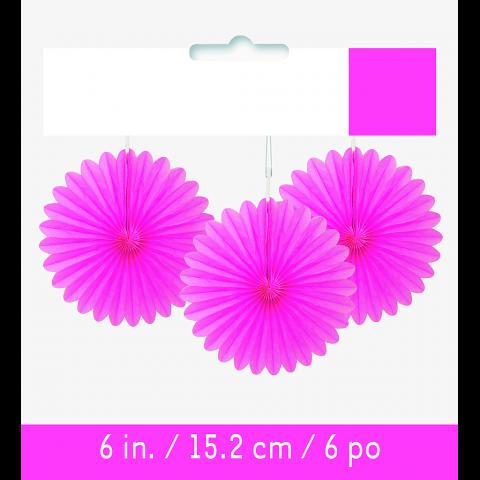 Papperdekoration fan, rosa 3 st