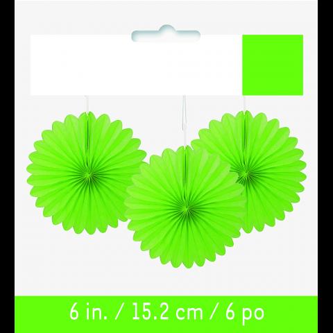 Papperdekoration fan, limegrön 3st