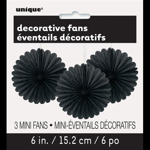 Papperdekoration fan, svart 3st