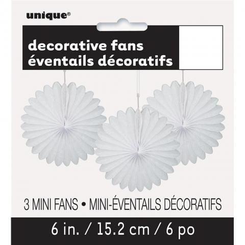 Papperdekoration fan, vit 3st