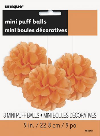 Pappersdekoration pompom, orange 3st