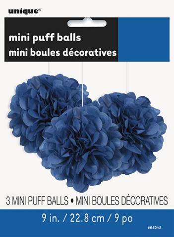 Pappersdekoration pompom, blå 3st