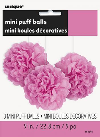 Pappersdekoration pompom, rosa 3st
