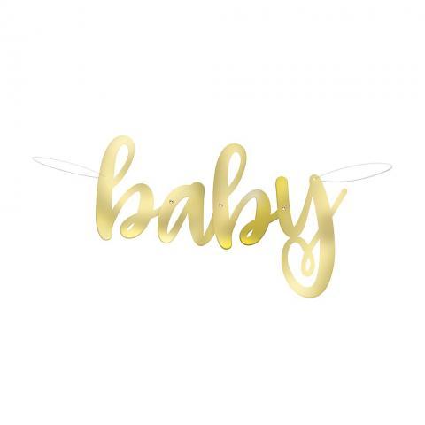 Hello Baby banderoll guld