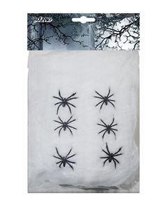 Strechiga spindelnät, 100g och 6 spindlar