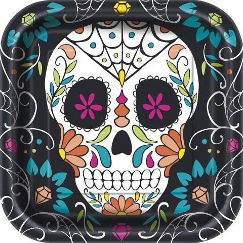 Stora fyrkantiga tallrikar, Skull Day of the dead