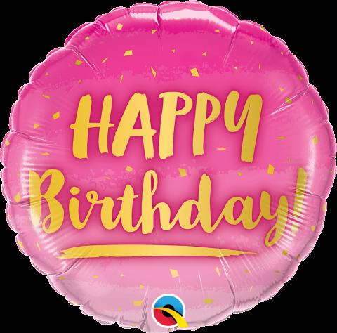 Folieballong, Birthday Pink & Gold