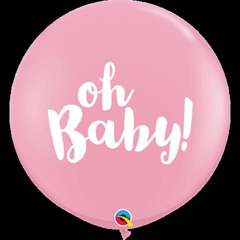 Gummiballonger Oh baby pink 2st, 90cm