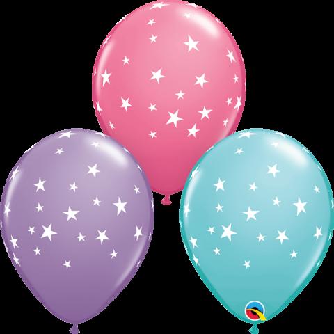 Gummiballong 25st, pastel stars