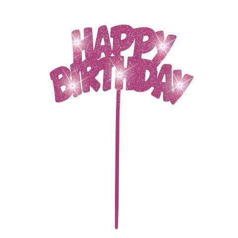 Happy Birthday-tårtdekoration med led-lampor (pink