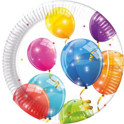 Återvinningsbara stora tallrikar, ballonger