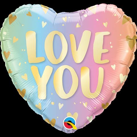 Folieballong, love you pastel
