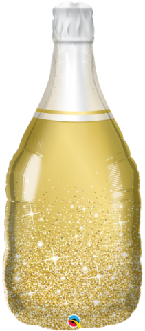Figurfolieballong, golden bubbly wine bottle