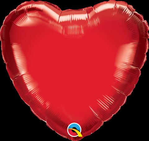 Folieballong, hjärta röd
