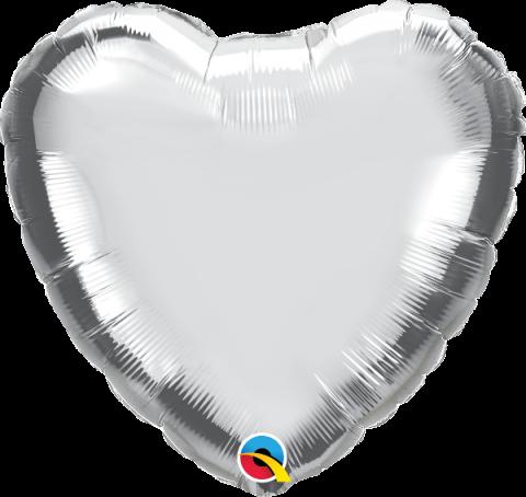 Folieballong, hjärta silver