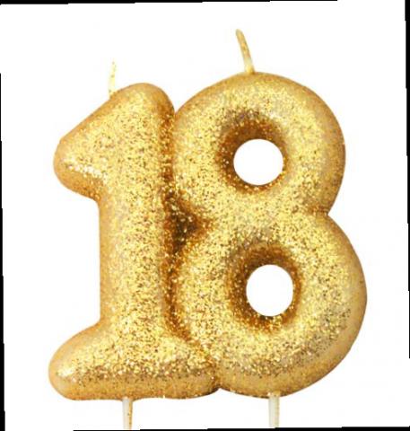 Tårtljus, guld 18-år