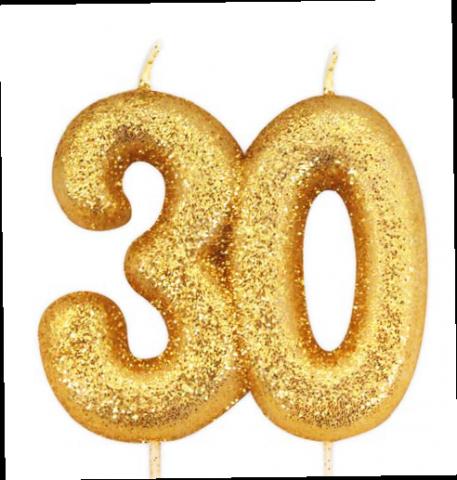 Tårtljus, guld 30-år