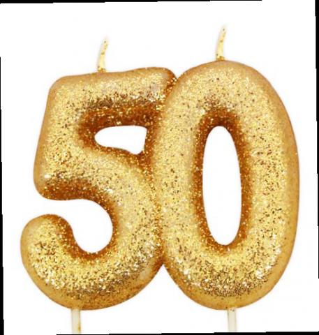 Tårtljus, guld 50-år