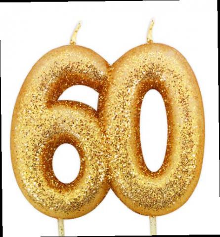 Tårtljus, guld 60-år