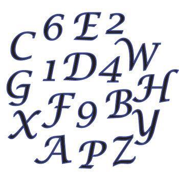 Stora kalligrafibokstäver  och siffror