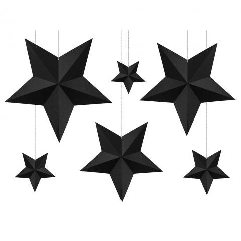 Hängande dekorationer, svarta stjärnor