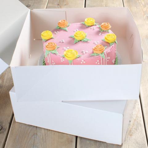 Funcakes tårtkartong 32x32x11,5 (vit), 2st