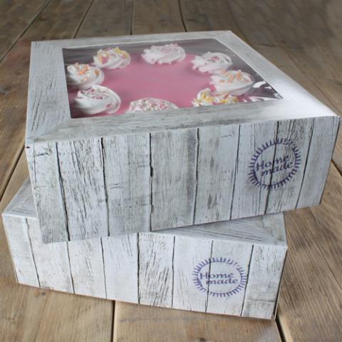 FunCakes tårtkartong 32x32x11,5cm (trämönster) 2st