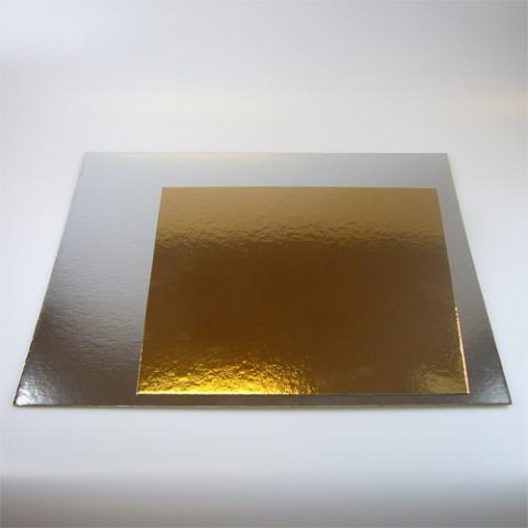 Tårtbricka kvadrat silver/guld, 30x30cm (3st)