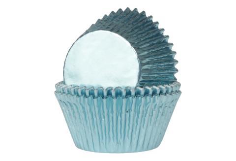Mini-muffinsformar, metallicfärgad blå