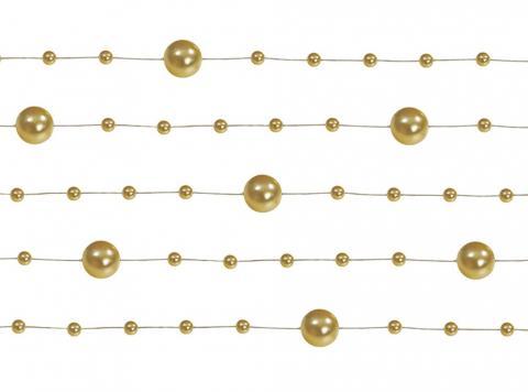 Dekorationsband pärlor, guld