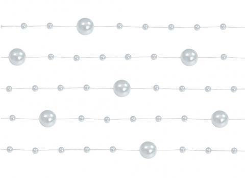 Dekorationsband pärlor, silver