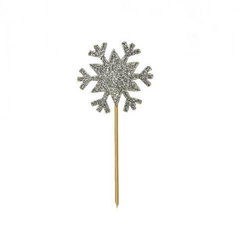 Dekorationssticka, silver snöflinga