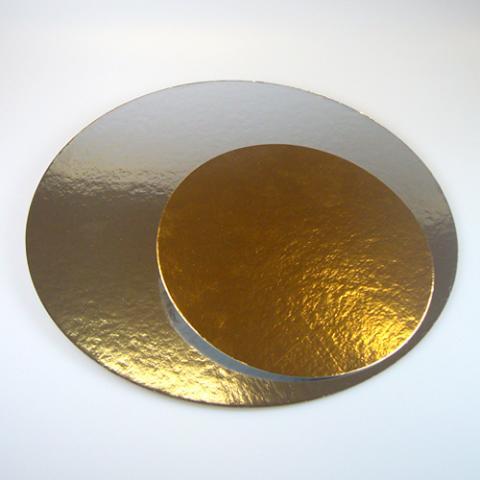 Rund silver/guld tårtbricka, 16cm (3st)