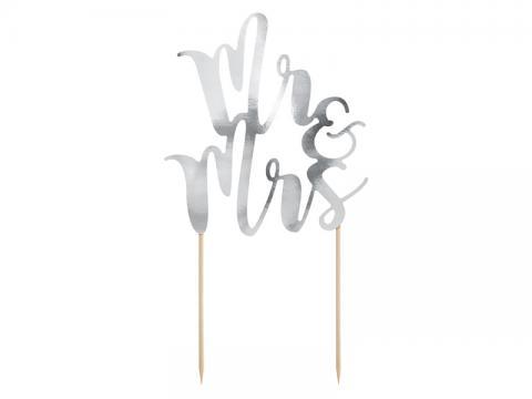 Tårtdekoration, Mr&Mrs silver
