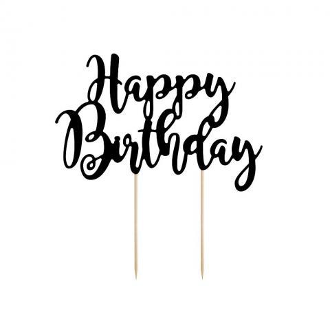Tårtdekoration, Happy Birthday svart