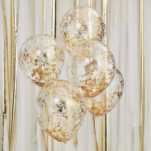 Gummiballonger 5st, guld confetti
